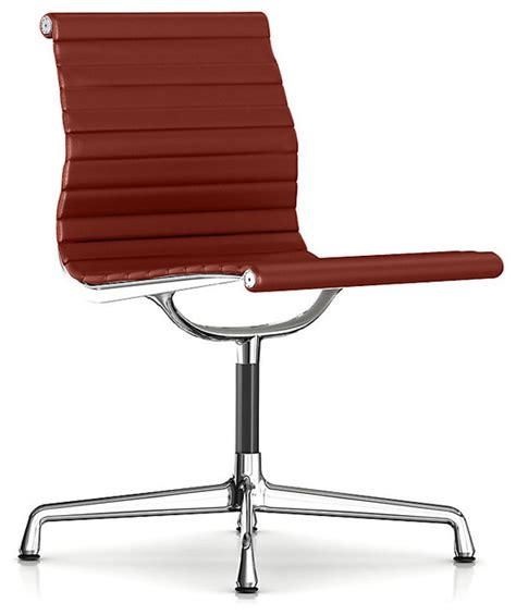 herman miller eames aluminum armless side chair leather