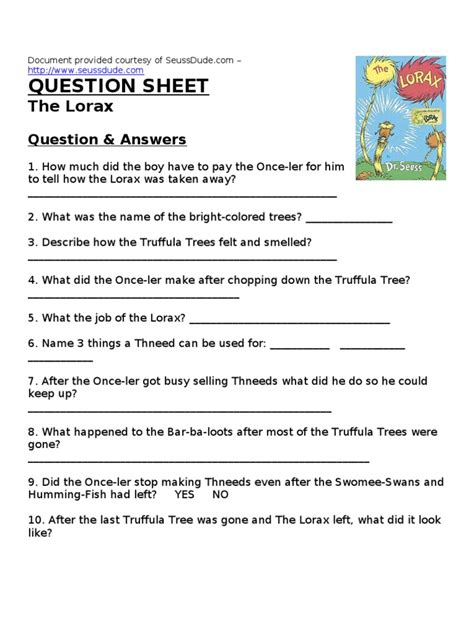 the lorax worksheet answers dr seuss the lorax worksheet lesson plan
