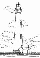 Lighthouse Coloring Pages Island Bodie Carolina North Drawing Printable Sheets Lighthouses Cape Simple Hatteras Drawings Colouring Sketch Ocean Template Trans sketch template