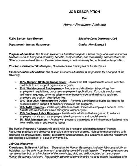 Hr Assistant Descriptions Duties sle human resources description 7 exles in pdf