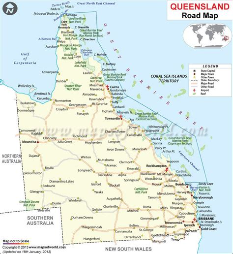 queensland road map maps globes australia tourism