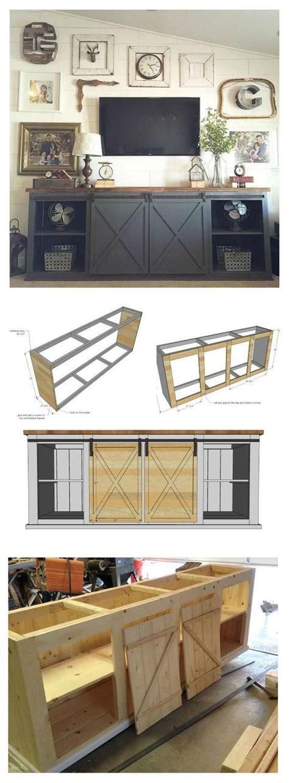 ana white build  grandy sliding door console