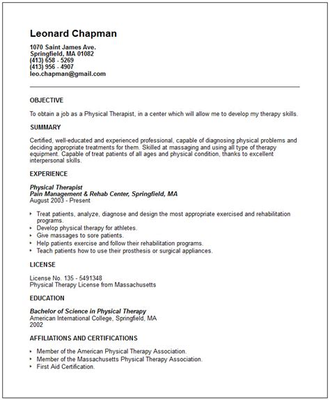 Physical Therapy Resume Cover Letter Exles by Physical Therapist Resume Exle Free Templates Collection