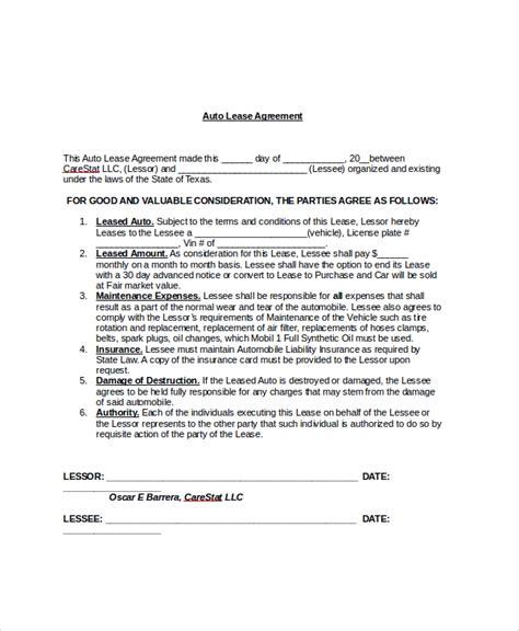8+ Sample Blank Lease Agreements