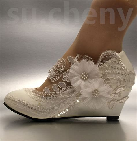 wedges wedding shoes lace white ivory sequin wedding shoes 1239