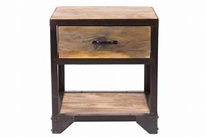 Table De Chevet Wengé : table de chevet design industriel industria miliboo ~ Teatrodelosmanantiales.com Idées de Décoration