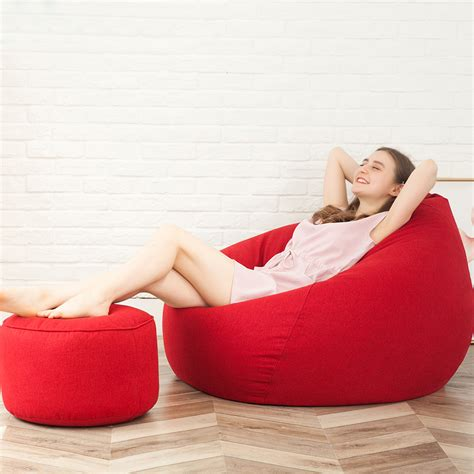 large bean bag chairs  adults couch sofa cover indoor lounger  footrest ebay