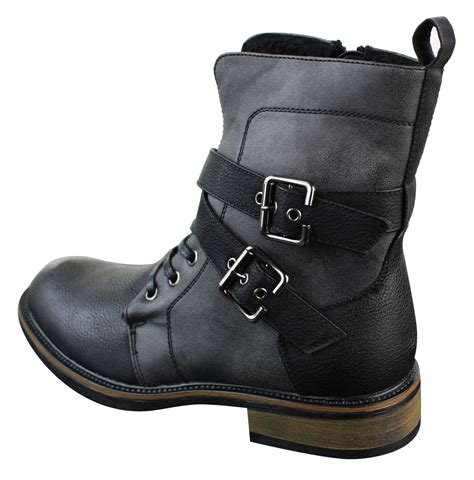 mens buckle biker boots mens punk rock goth elmo biker ankle boots leather buckle