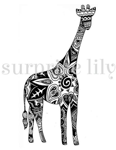 Giraffe Floral Coloring Page Book Digital Printable for