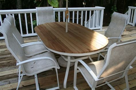 tired outdoor patio table broken glass turn your