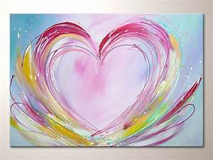 "Original modern art heart painting ""happy love"", abstract ..."