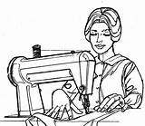 Sewing Clipart Quilting Woman Machine Drawing Dressmaker Cartoon Thread Notions Christian Clip Lady Treasure Box Garment Needle Ladies Cliparts Library sketch template