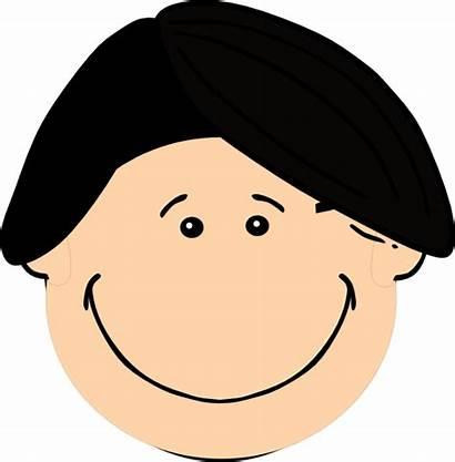 Hair Clip Clipart Boy Dark Smiling Cartoon