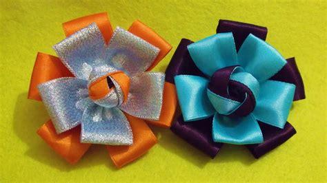 d i y easy satin ribbon flower myindulzens