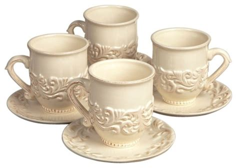 The Gg Collection Four Cups And Saucers-mediterranean