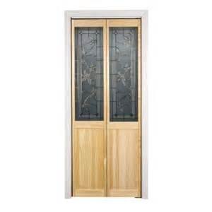 wood interior doors home depot pinecroft 30 in x 80 in glass panel tuscany wood universal reversible interior bi fold