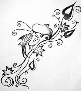Vine Flowers And Fairy Tattoo Design