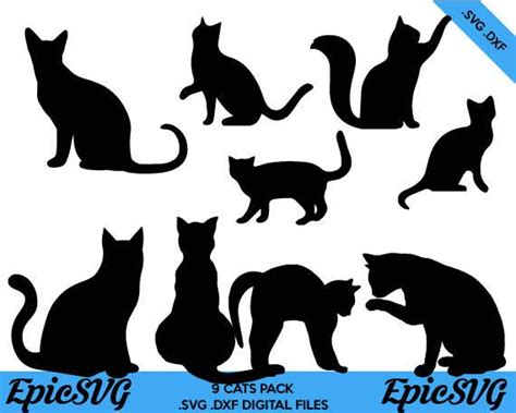 cats svg dxf clipart vector graphic black cat etsy