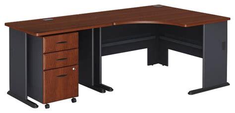 bush hansen cherry desk bush series a 3 piece wood corner computer desk in hansen