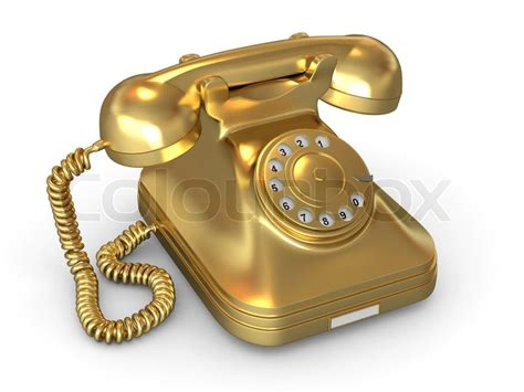 golden phone golden phone on white isolated background 3d stock