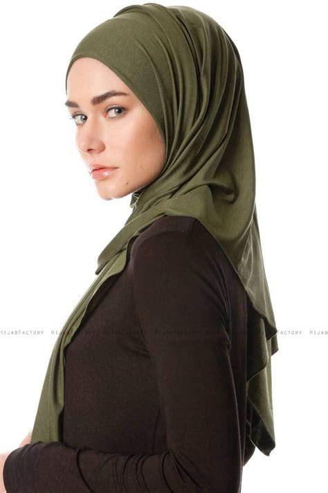 hijab jersey premium melek stretchy khaki jersey sjaal van ecardin