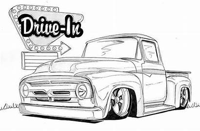 Ford 1956 Coloring Nathan Miller Cars Drawing