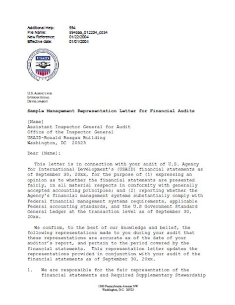 management representation letter ads reference 594saa u s agency for international