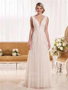 plunging neckline sheath vintage wedding dress With plunging neckline wedding dress