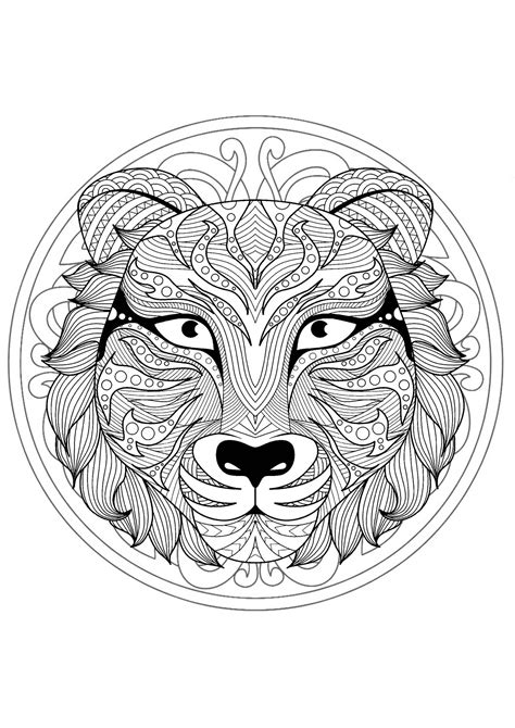 beautiful tiger head mandala mandalas  animals  mandalas zen anti stress