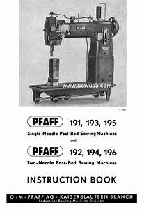 Pfaff 191 192 193 194 195 196 Instruction Manual