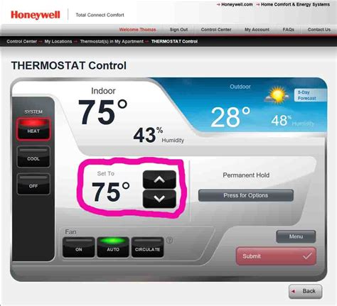total connect comfort how to set honeywell thermostat temperature rth9580wf