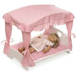 badger basket doll canopy bed with pink gingham bedding fits most 18 quot dolls my as