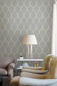 Gustav Grey Geometric Wallpaper Ideas For Lounge Interior ...