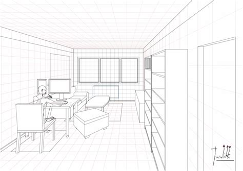 One Point Perspective Living Room Drawing : A Ongoing Living Room Drawing In One Point Perspective
