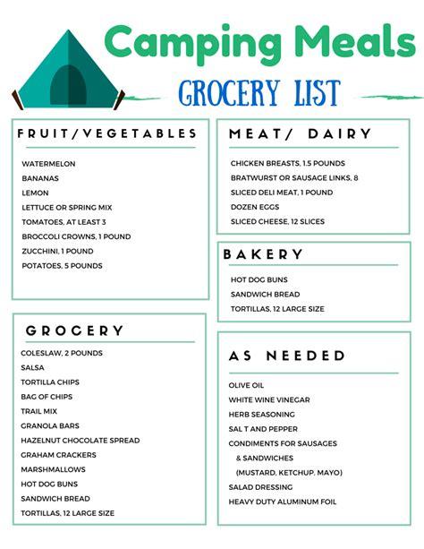 cuisine menu list cing grocery list for weekend cing food menu