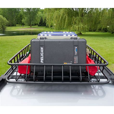 roof rack storage apex steel roof cargo basket 43 1 2 quot l x 39 quot w x 6 quot h