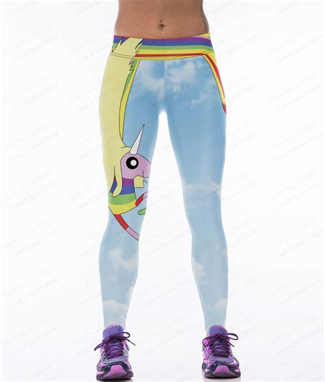 light blue workout leggings sky blue yoga pants unicorn rainbow printing female sport