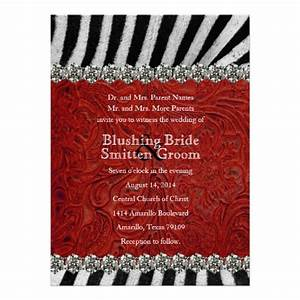 zebra rhinestone red leather wedding invitations 55quot x 7 With red rhinestone wedding invitations