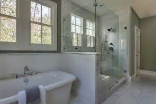 Cape Cod Bathroom Ideas by Classic White Marble Master Bath With Painted Beadboard