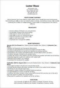 critical care resume exles professional intensive care templates to showcase your talent myperfectresume