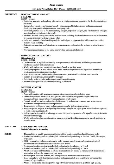resume of content analyst content analyst resume sles velvet