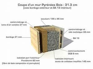 coupe du mur ossature bois pyrenees bois rt 2012 With materiau isolation mur interieur
