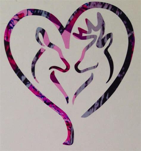 Real Tree Camo Wallpaper Deer Heart Doe Buck Vinyl Decal 5 Quot Camo Pink Blue Muddy Country Browning Girl Ebay