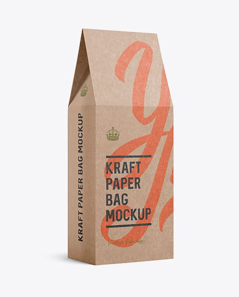 Apply your design ideas on this mockup of a kraft paper stand up pouch. Free Mockups Kraft Paper Bag Mockup - Halfside View Object ...
