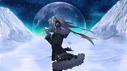 Anime Snow Moon Night Wallpapers Headphones Desktop