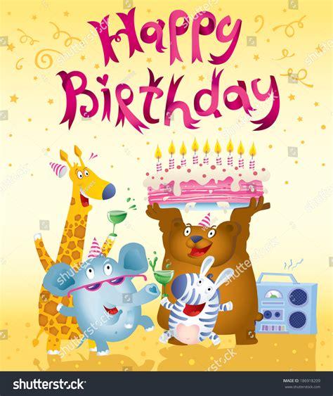 happy birthday card design cute animals stock vector