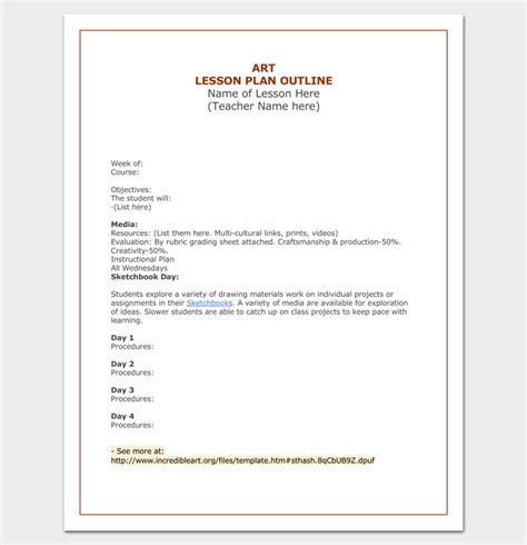 Outline Of A Lesson Plan Template by Lesson Plan Outline Template 23 Exles Formats And