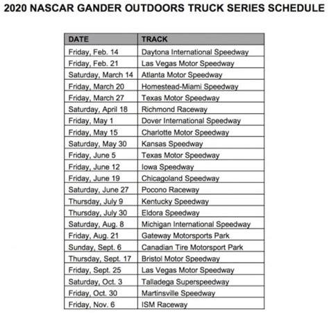 nascar truck xfinity  schedules revealed auto