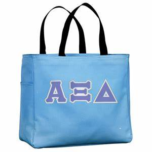 alpha xi delta sorority tackle twilled greek letter tote With sorority letter bags