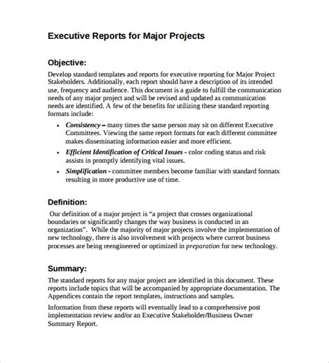 executive report template 7 sle executive report templates sle templates